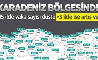 Karadeniz'de 15 ilde vaka düştü, 3 ilde arttı