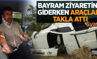 Bayram ziyaretine giderken araçları takla attı: 5 yaralı