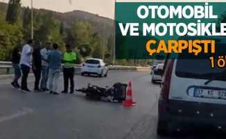 Otomobil ve motosiklet çarpıştı