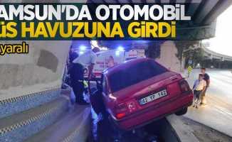 Samsun'da otomobil süs havuzuna girdi: 2 yaralı