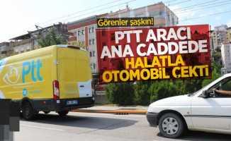 Görenler şaşkın! Samsun'da PTT aracı ana caddede halatla otomobil çekti