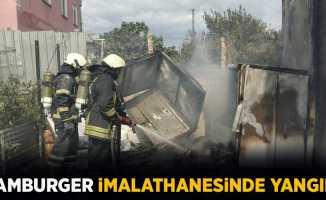 Samsun'da hamburger imalathanesinde yangın