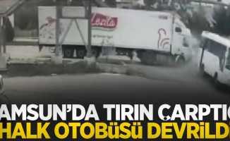 Samsun'da tırın çarptığı halk otobüsü devrildi