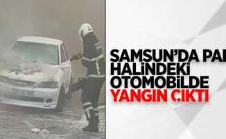 Samsun'da park halindeki otomobilde yangın çıktı