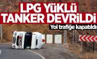 LPG yüklü tanker devrildi
