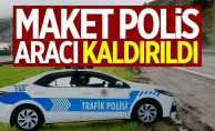 Maket polis aracını sonunda kaldırttılar