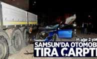 Samsun'da otomobil tıra çarptı! 2 yaralı