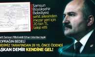 Samsun Büyükşehir Belediyesi'nden şehit ailesine 20 bin lira mezar yeri faturası!
