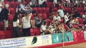 Samsun'da olimpiyatlarda Türk Bayrağına büyük saygısızlık